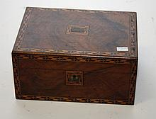 A VICTORIAN WALNUT AND PARQUETRY BOX, probably