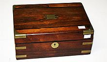 AN EARLY 19TH CENTURY BRASS BOUND ROSEWOOD BOX,