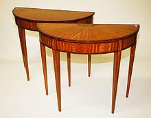 A VERY ATTRACTIVE PAIR OF DEMI LUNE SATINWOOD SIDE