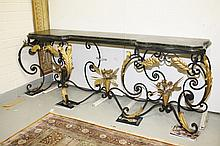 A WROUGHT IRON AND PARCEL GILT CONSOLE TABLE, with