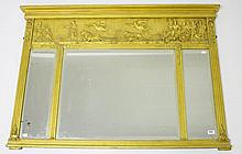 A REGENCY STYLE GILT THREE COMPARTMENT OVERMANTEL,