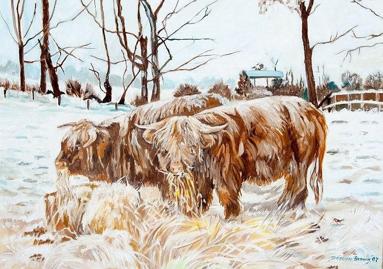 DOREEN BROWN (B. 1932), Highland Cattle, Winter