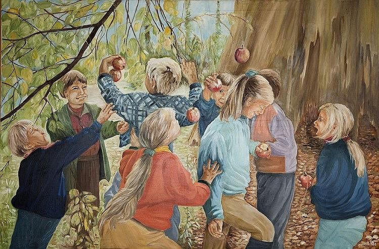 DOREEN BROWN (B.1932) A Summer Caprice, children
