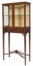 A CHIPPENDALE STYLE MAHOGANY VITRINE,  with glazed top, sides and door pane