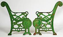 AN IMPORTANT PAIR OF VICTORIAN GARDEN SEAT ENDS,  commemorating the Queen's