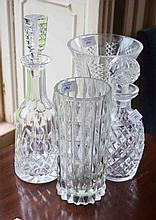 A WATERFORD CRYSTAL MALLET SHAPED DECANTER AND STOPPER,  another Waterford