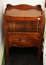 A LATE GEORGIAN MAHOGANY NIGHT TIME BEDSIDE COMMODE,  with saw cut gallery
