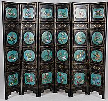 A FINE CHINESE BLACK LACQUERED AND GILT DECORATED FIVE LEAF SCREEN,  each l