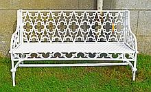 A HEAVY CAST IRON GOTHIC STYLE GARDEN BENCH,  the back with typical pierced