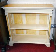A SMALL PAINTED WOODEN OPEN BOOKCASE,  with adjust