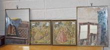 A PAIR OF FRENCH STYLE TAPESTRY TYPE PICTURES,  ea