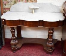 A VICTORIAN MAHOGANY DUCHESS STYLE WASH STAND, wit