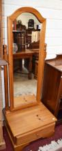 A PAIR OF MODERN PITCH PINE ARCHED TOP CHEVAL DRES
