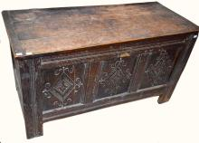 AN 18TH CENTURY OAK COFFER CHEST,  the rectangular