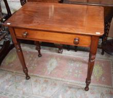 A VICTORIAN MAHOGANY SIDE TABLE,  with frieze draw