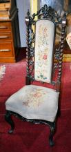 A VICTORIAN ROSEWOOD PRIE DIEU,  the high back wit