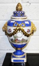 AN ATTRACTIVE BERLIN PORCELAIN POT POURRI URN AND