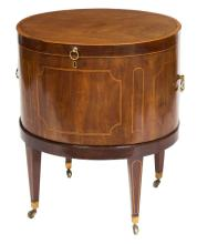 AN OVAL INLAID MAHOGANY WINE COOLER,  with satinwo