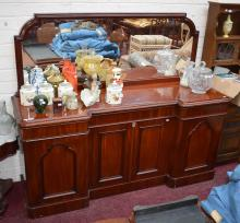 A VICTORIAN MAHOGANY SIDEBOARD,  of inverted break