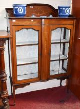 AN EDWARDIAN INLAID MAHOGANY DISPLAY CABINET, the