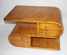 AN UNUSUAL ART DECO STYLE MAPLE S-SHAPED OCCASIONA