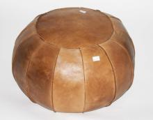 A PUMPKIN SHAPED LEATHER COVERED STOOL,  24'' (61c