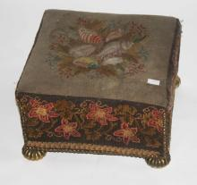 A VICTORIAN SQUARE TAPESTRY COVERED FOOT STOOL,  o