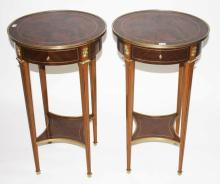 AN ATTRACTIVE PAIR OF CIRCULAR WALNUT AND BRASS MO
