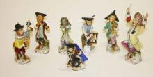 A SEVEN PIECE GERMAN PORCELAIN MONKEY BAND,  with