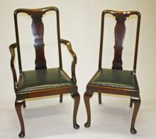 A SET OF EIGHT (6+2) MAHOGANY DINING CHAIRS,  each