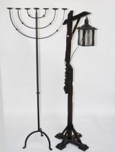A WOODEN TELESCOPIC SIGNPOST STANDARD LAMP,  with