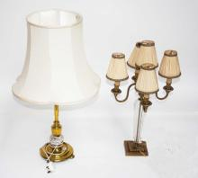 A FIVE BRANCH BRASS AND GLASS TABLE LAMP,  25''''
