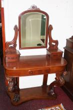 A VICTORIAN WALNUT DRESSING TABLE,  with swing fra