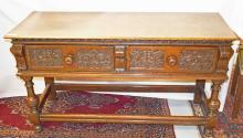 A 17TH CENTURY STYLE CARVED OAK DRESSER BASE, with