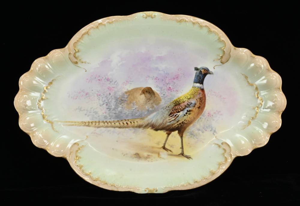 Victorian W. Guerin France Artist Signed Porcelain Pheasant Platter
