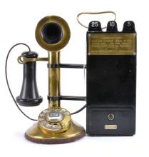 Gray Coin Operated Candlestick Telephone
