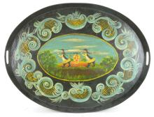 Antique Toleware Painted Serving Tray