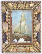 Sailors Valentine Shell Memory Art Frame
