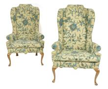 Pair of Formal Queen Anne Heritage Crewel Wing Back Chairs