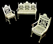 Victorian Eastlake Iron Garden Bench and Chairs