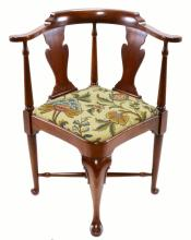 Formal Queen Anne Style Corner Library Chair