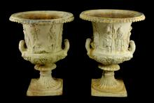 Pair of Grecian Garden Urns