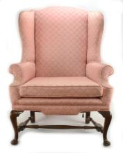 Formal Queen-Anne Style Wingback Upholstered Chair