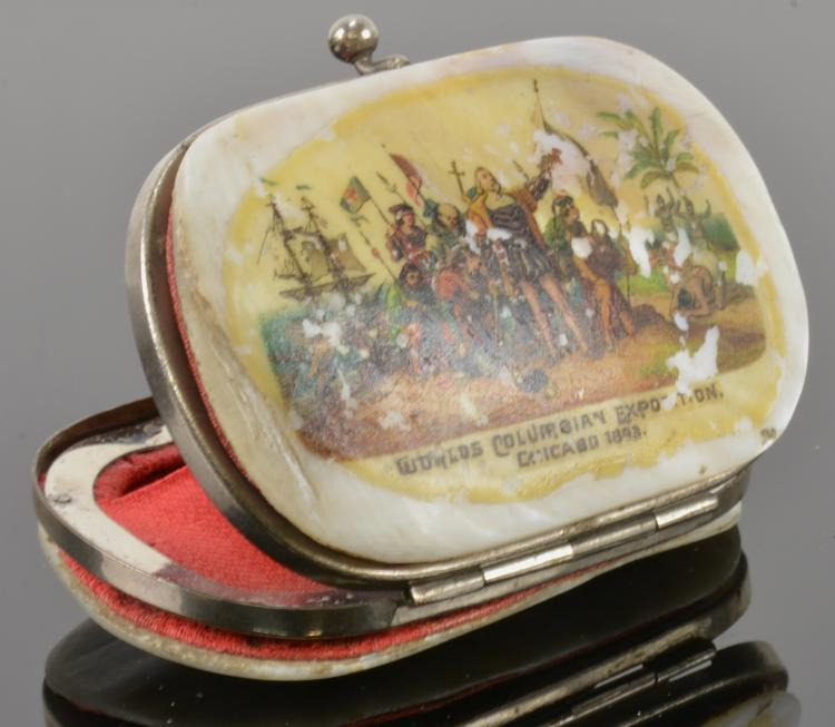 1893 Worlds Colombian Expo Coin Purse Mother Of Pearl