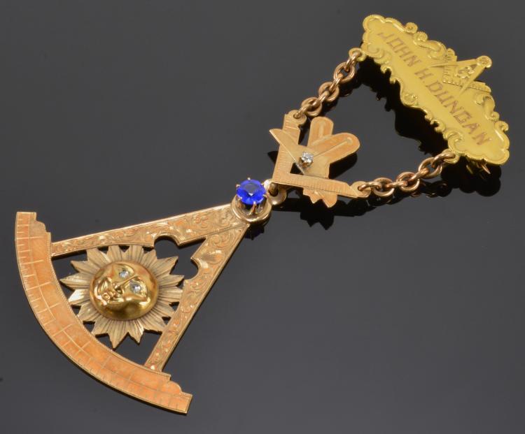 1917 Masonic Presented Medal Diamond Sapphire
