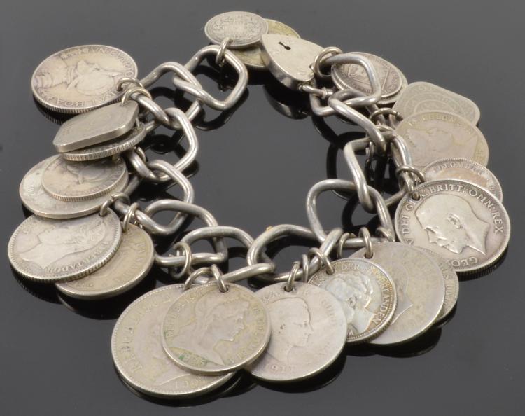 21 World Coins Silver Bracelet