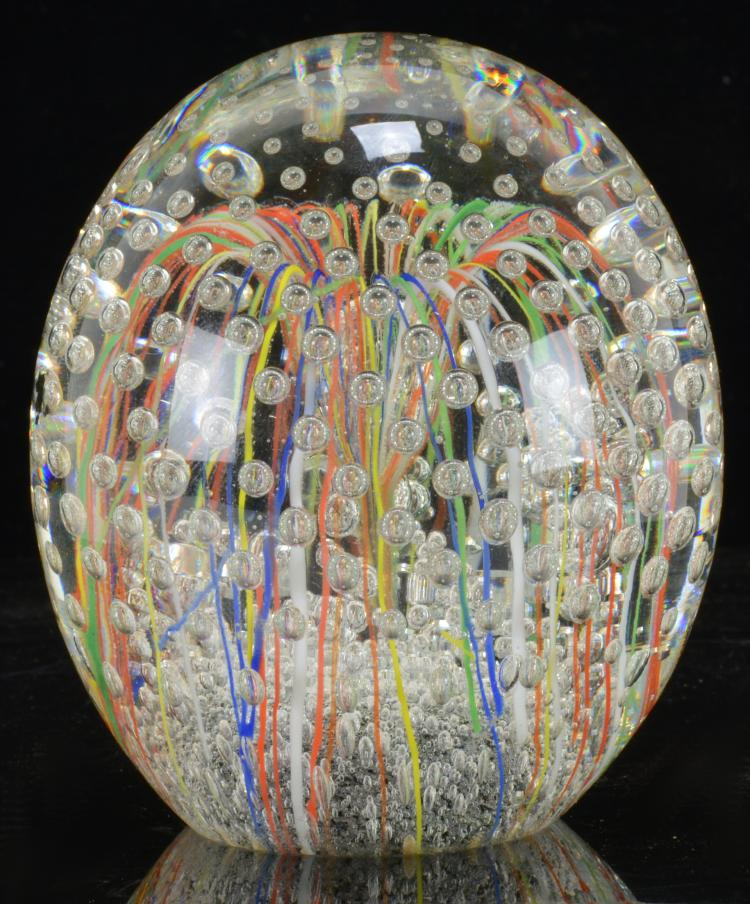 Art Glass Multi Color Strings Paperweight