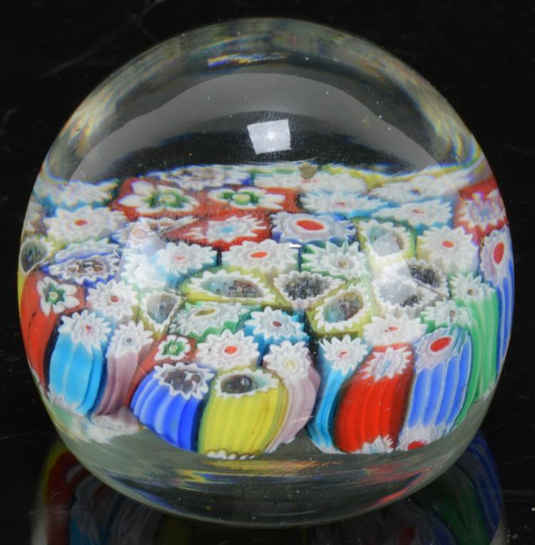 Art Glass Millefiori Paperweight