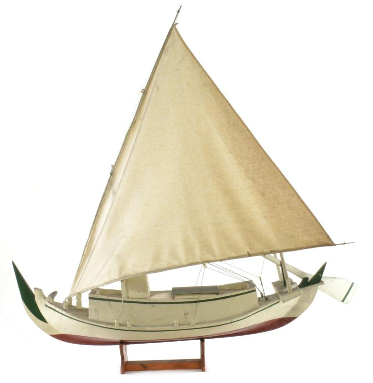 Antique Italy Cesenatico Wooden Model Harbor Fishing Boat