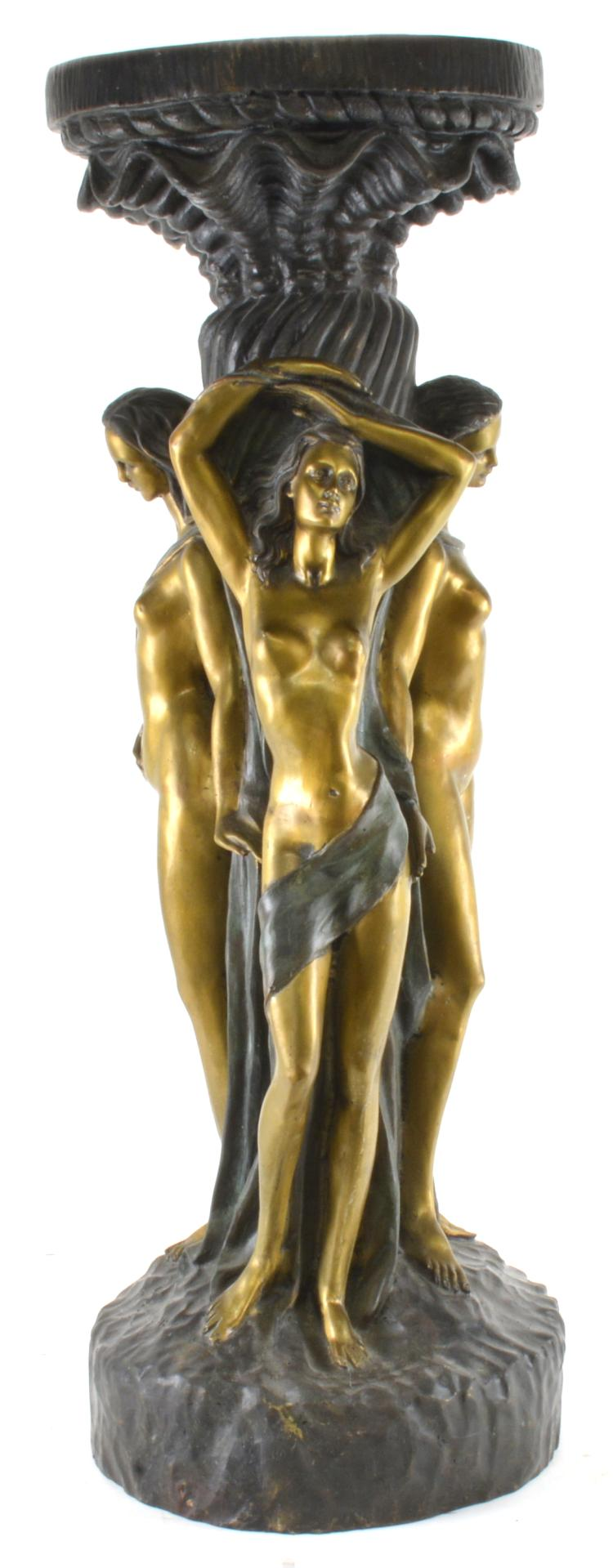 After Jean Antoine Houdon Bronze Pedestal